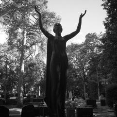 High contrast days: dark statues, light background