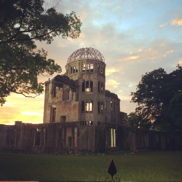 The A-bomb dome, on August 6th, as the sun sets