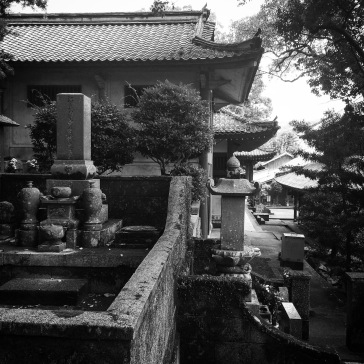 The cemetery begins at the edge of the temple area