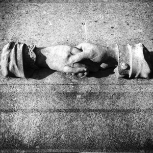 One image that a lot of Belgian cemeteries have is that of the handshake. It's everywhere.