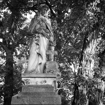 One of a few statues in the cemetery
