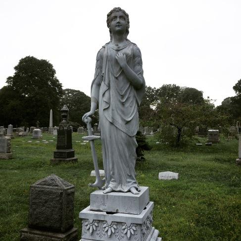 White bronze statue