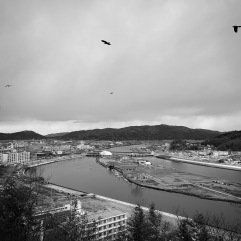 Looking back towards the town. The tsunami roared down this river. The island lost virtually every building on it.