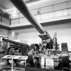A Type 89 15 cm Cannon and a Type 96 15 cm Howitzer on display