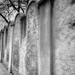 Fragment of the ghetto wall. The gravestone imagery was on purpose