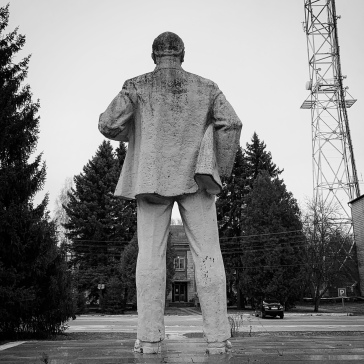 One of the few remaining statues of Lenin. He faces the former KGB headquarters