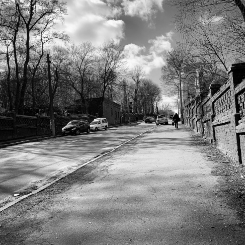 The road that splits the cemetery