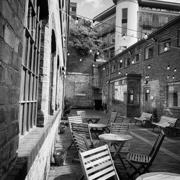 The outdoor courtyard. The factory was to the left.