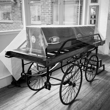 Sample coffin displaying the wares