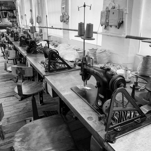 Sewing machines next to the windows