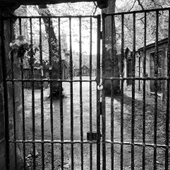 A closed off section of the cemetery
